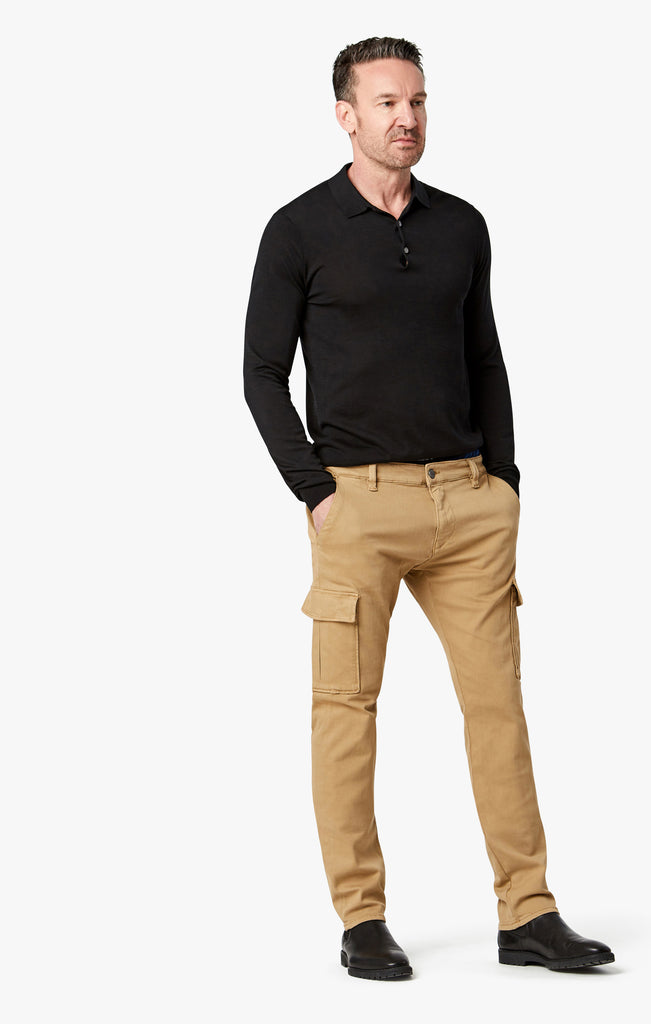 Carson Slim Leg Cargo Pants in Golden Twill