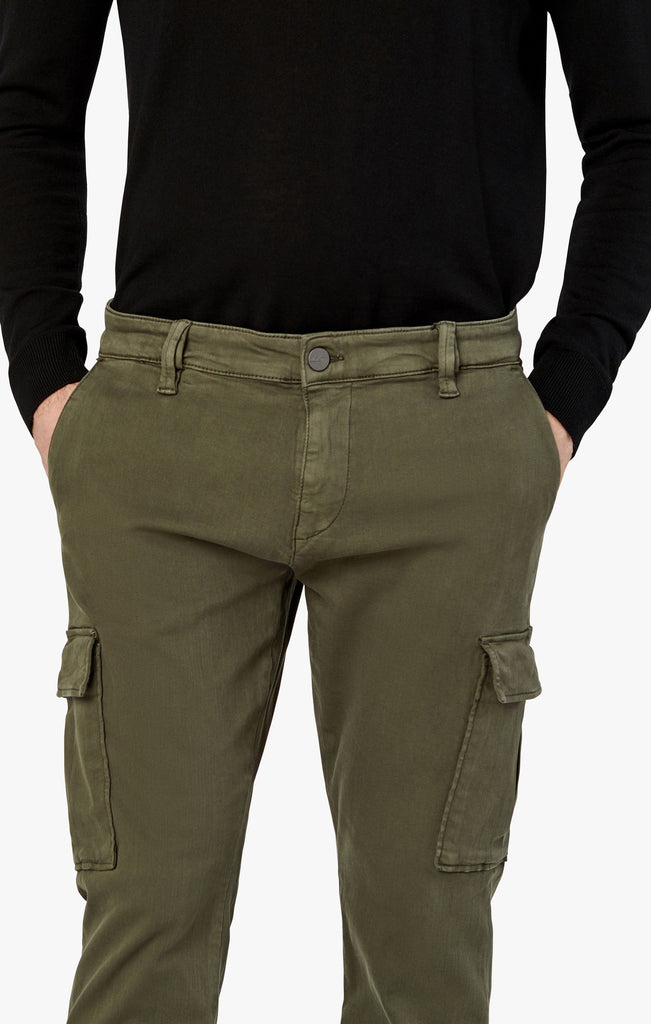 Carson Slim Leg Cargo Pants in Olive Twill
