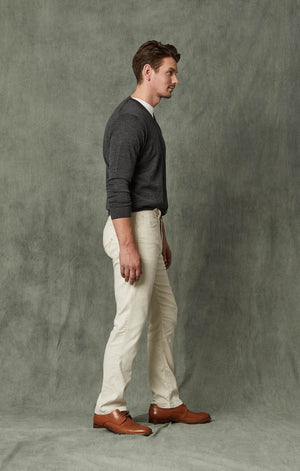 Courage Straight Leg Jeans in Bone Linen Denim