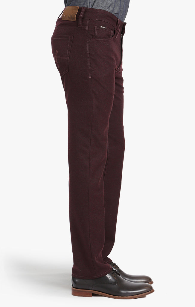 COURAGE STRAIGHT LEG PANTS IN BURGUNDY FEATHER TWILL