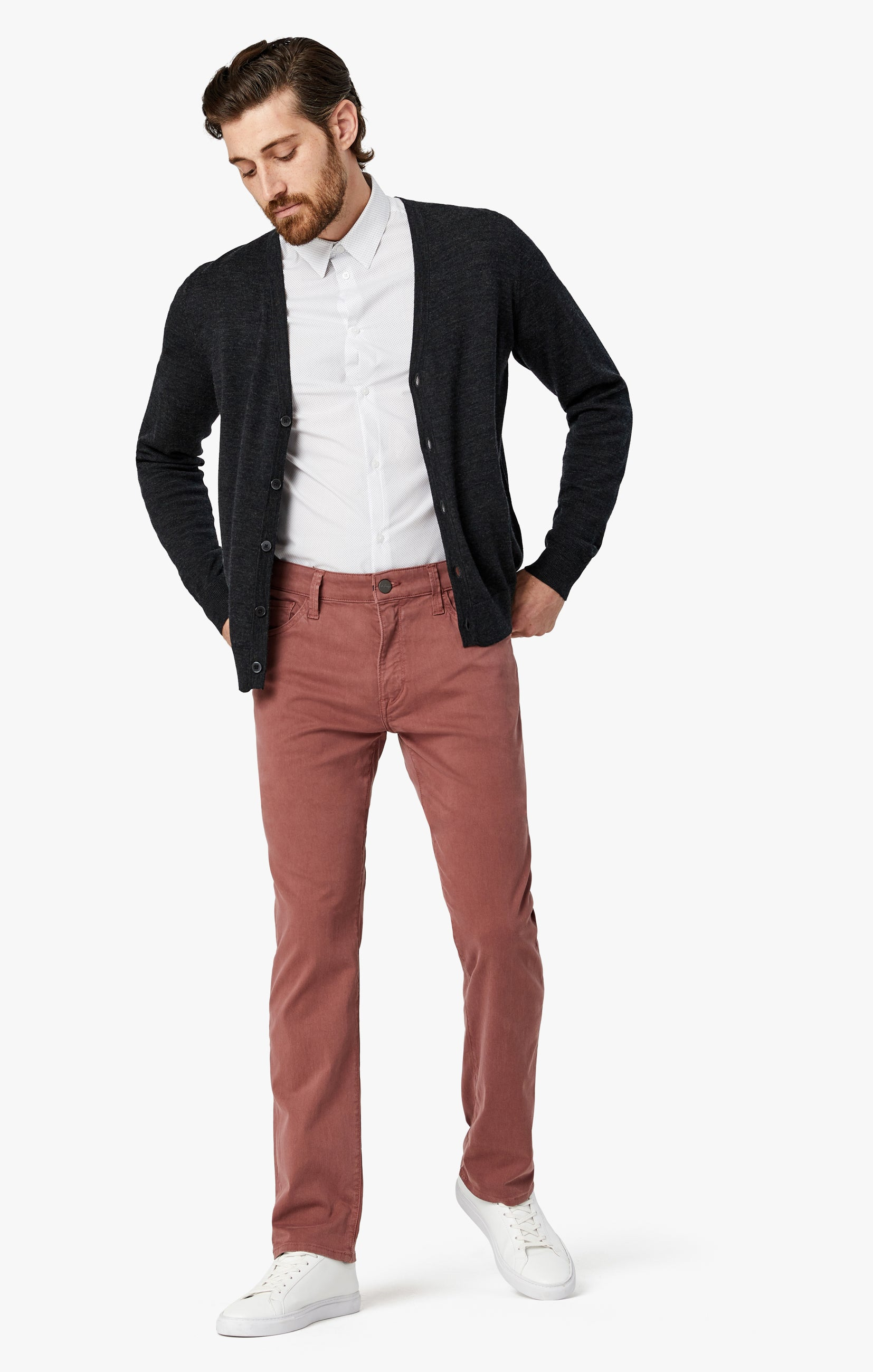 Courage Straight Leg Pants in Berry Twill Image 3