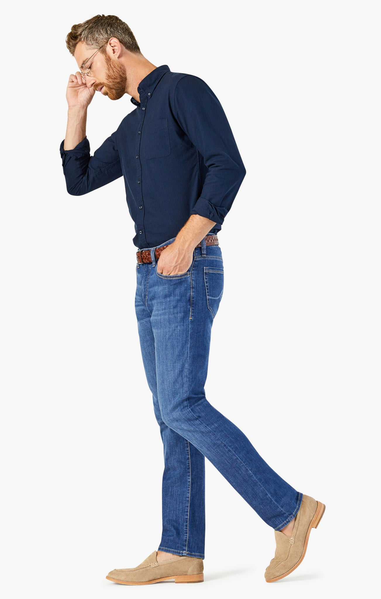 Courage Straight Leg Jeans in Mid Brushed Kona