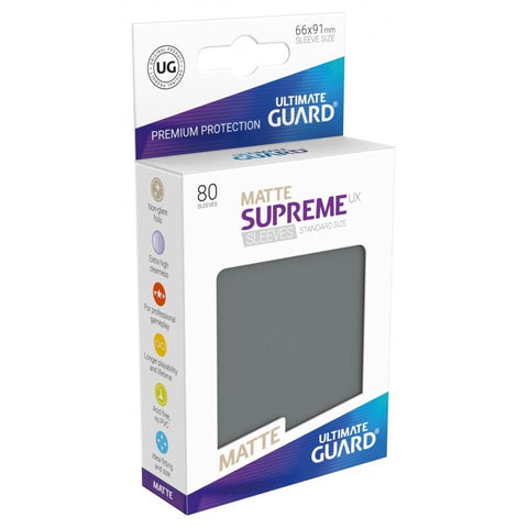 Ultimate Guard Supreme Sleeves Matte Grey 80
