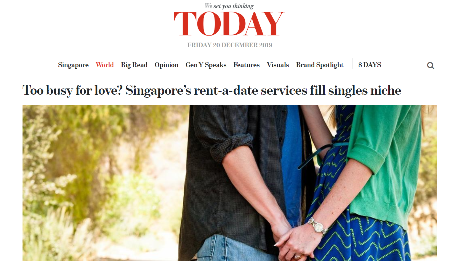 Today Online : Too busy for love? Singapore-Rent a date-services fill singles niche