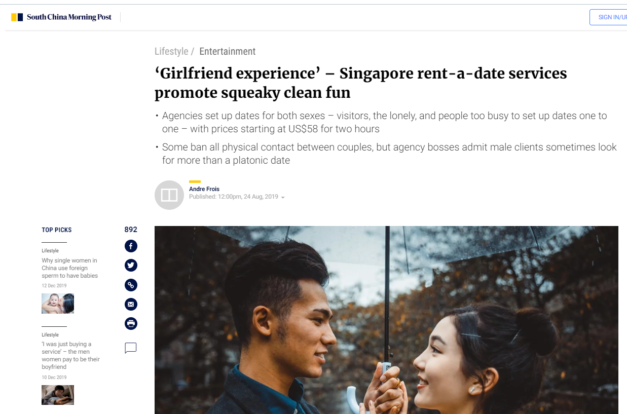 'Girlfriend experience' – Singapore rent-a-date services promote squeaky clean fun