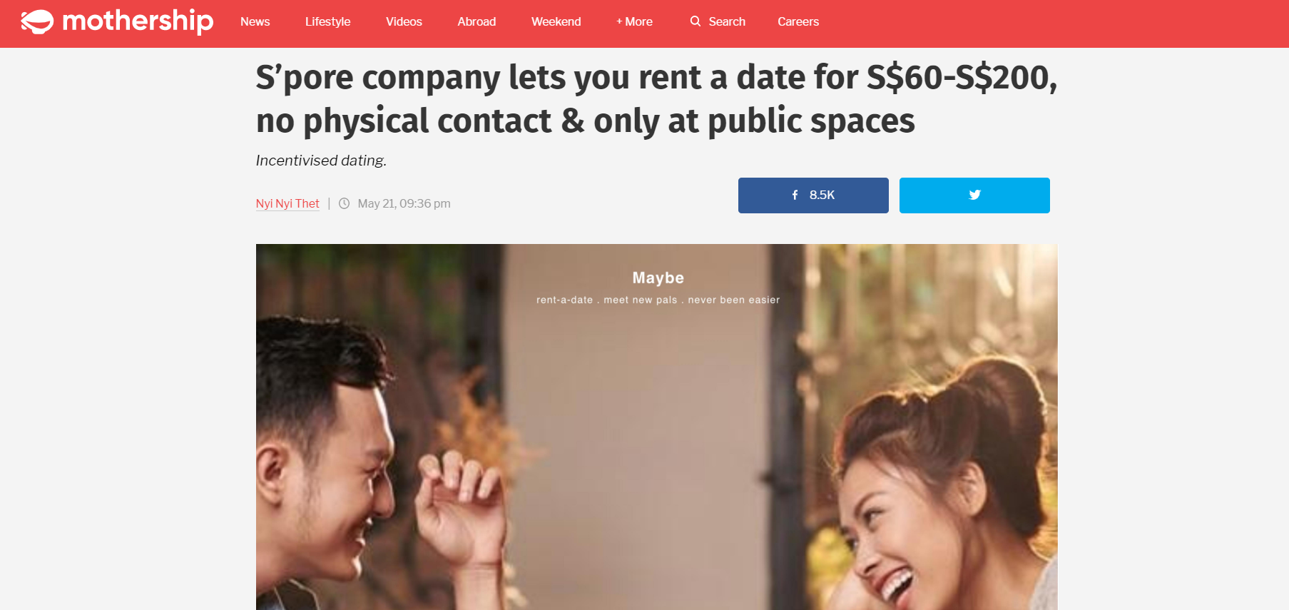 S'pore company lets you rent a date for S$60-S$200, no physical contact & only at public spaces