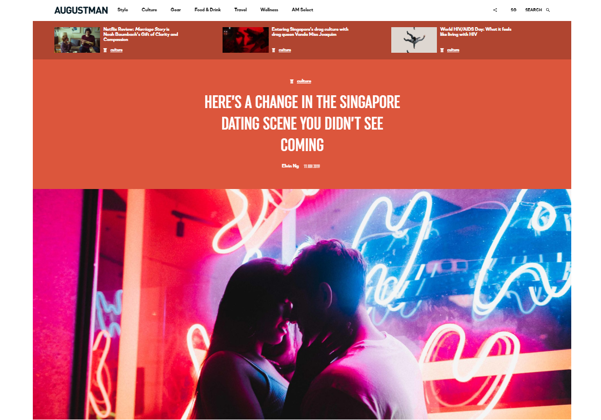 HERE'S A CHANGE IN THE SINGAPORE DATING SCENE YOU DIDN'T SEE COMING