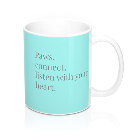 paws connect listen dog lover turquoise mug image