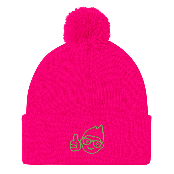 Be Epic Embroidered Pom-Pom Beanie Pink & Green