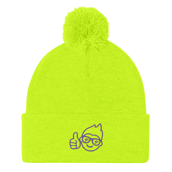Be Epic Embroidered Pom-Pom Beanie Neon Yellow & Purple