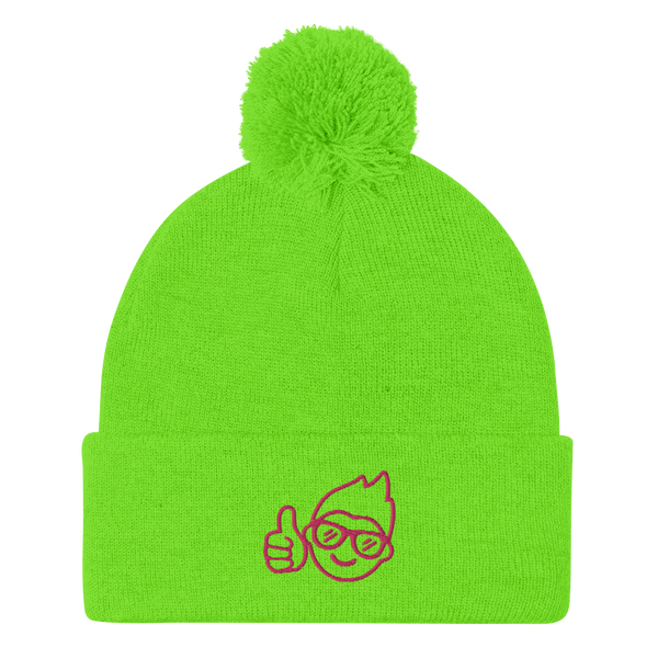 Be Epic Embroidered Pom-Pom Beanie Neon Green & Flamingo