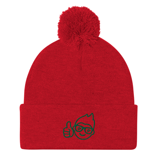 Be Epic Holiday Embroidered Pom-Pom Beanie Red & Green