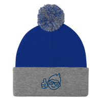 Be Epic Embroidered Pom-Pom Beanie Blue/Grey & Blue