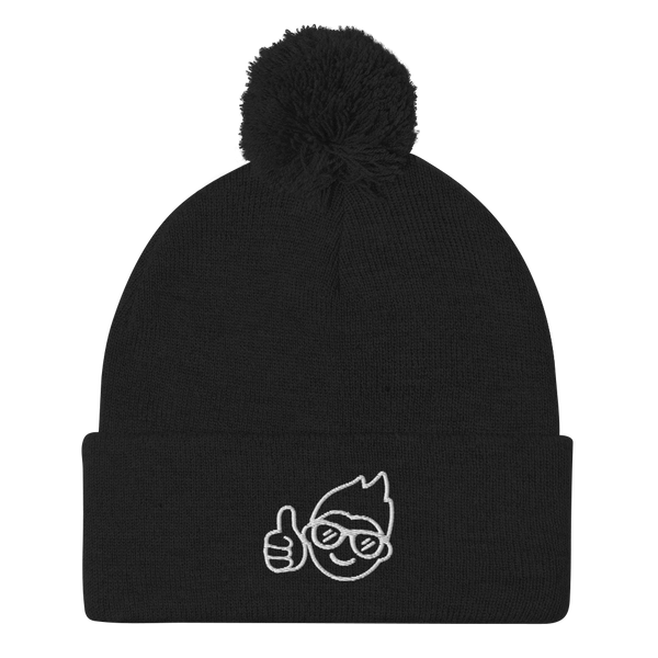Be Epic Embroidered Pom-Pom Beanie Black & White
