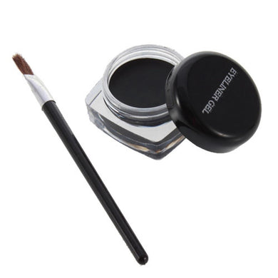 Cosmetic Waterproof Eye Liner pencil black liquid  Shadow Gel Makeup + Brush