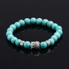 Natural Stone bead Buddha Bracelets For Women and Men,Silver Buddha, Turquoise,Black Lava bracelet
