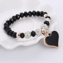 Beautiful Crystal Bracelet & Bangle Elastic Heart Bracelets For Women Handmade