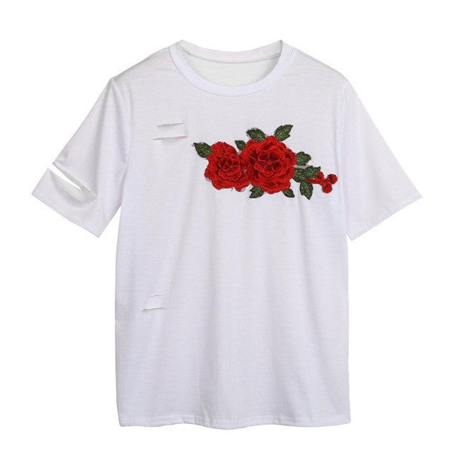Women Holes White T-Shirt Casual Short Sleeve Ripped Rose Embroidery