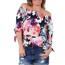 Womens Tops Blouses For Summer Floral Print Off Shoulder Blouse Vintage Blusas Feminina