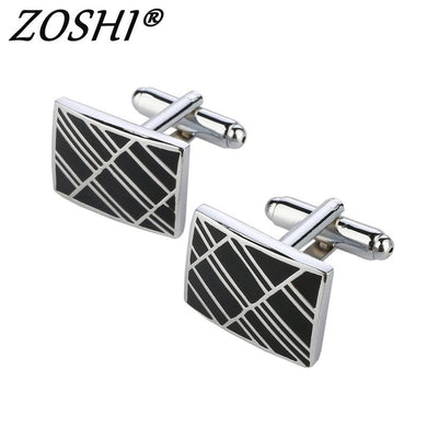 Men's Stainless Steel Silver Square Cuff Links