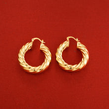 24K Gold Color Circle Hoop Earrings Jewelry