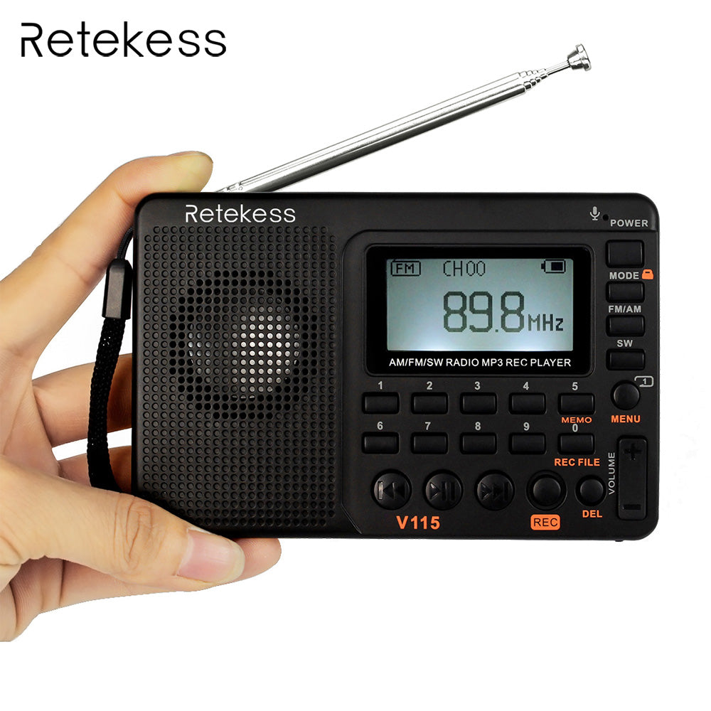 Retekess V115 FM/AM/SW Radio Receiver Bass Sound MP3 Player