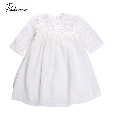 Girls White Lace Crochet Floral Party Dress