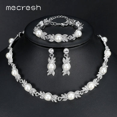 Mecresh Simulated Pearl Bridal Jewelry Set