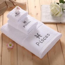 12 Constellation Sign Embroidered  Luxury Quality Cotton Towel Set