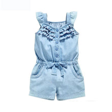 Girls Solid Color Denim Dress Polka Dot Bow