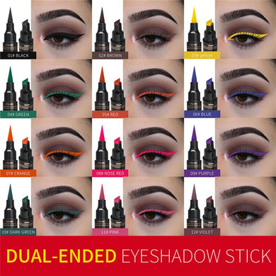 Double-Headed Seal Black Eyeliner 2 in 1 Waterproof Makeup  Pencil Stamp