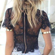 Womens Tank top Short Sleeve Elegant Crochet Lace Crop