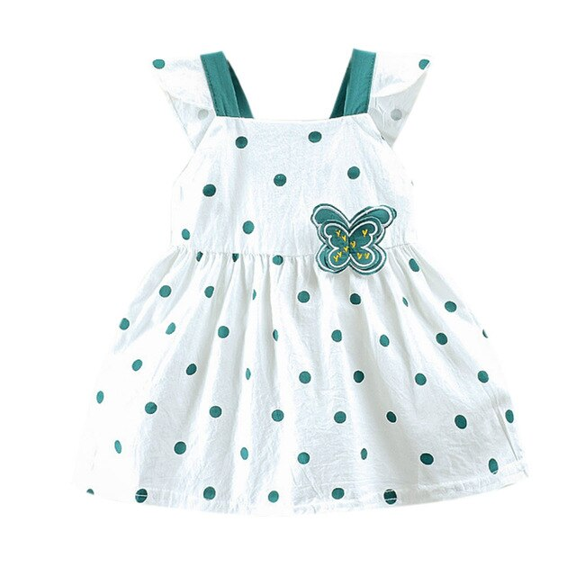 2019 Summer Explosion Girls Dot Printed Butterfly Bow Dress