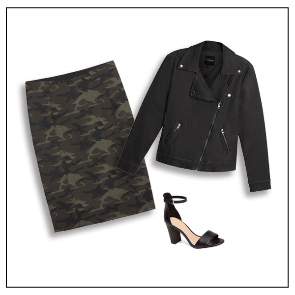 Edge up your office look with a Hi-Rise Camo Skirt and Moto Jacket! Shop Now!