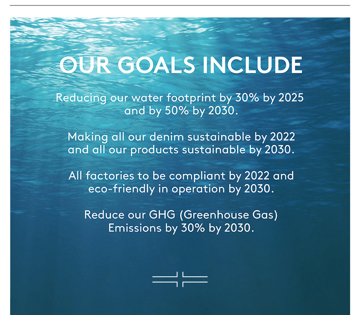OUR GOALS INCLUDE Reducing our water footprint by 30% by 2025 and by 50% by 2030. Making all our denim sustainable by 2022 and all our products sustainable by 2030. All factories to be compliant by 2022 and eco-friendly in operation by 2030. Reduce our GHG (Greenhouse Gas) Emissions by 30% by 2030.