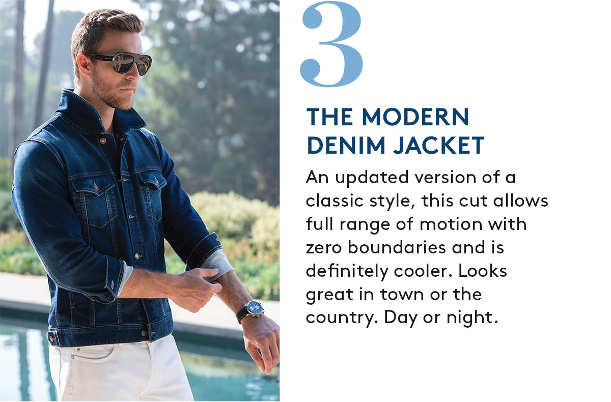 3. THE MODERN DENIM JACKET: An updated version of a classic style, this cut allows full range of motion with zero boundaries and is  definitely cooler. Looks great in town or the country. Day or night.