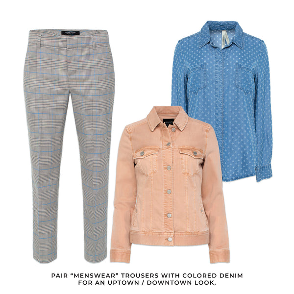 "Liverpool outfit solutions to any occasion. Pair ""menswear"" inspired trousers with colored denim for an uptown/ downtown look."