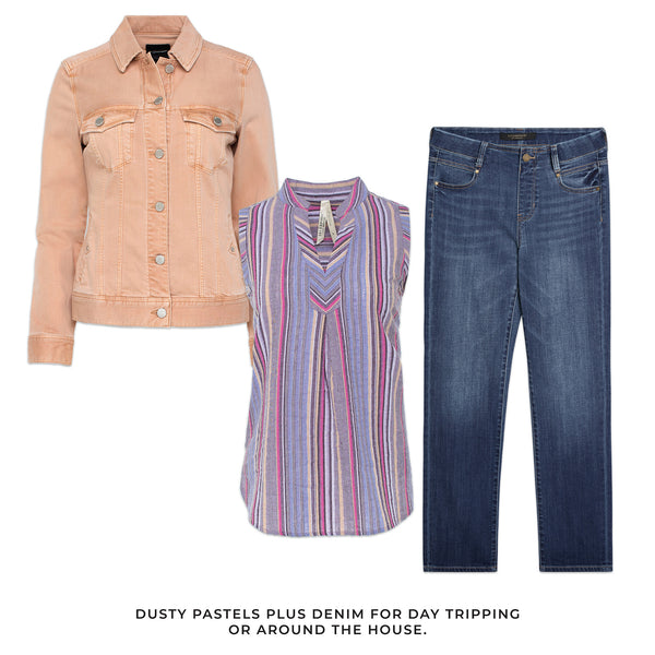 Liverpool outfit solutions to any occasion. Dusty pastels plus denim for day tripping or around the house.