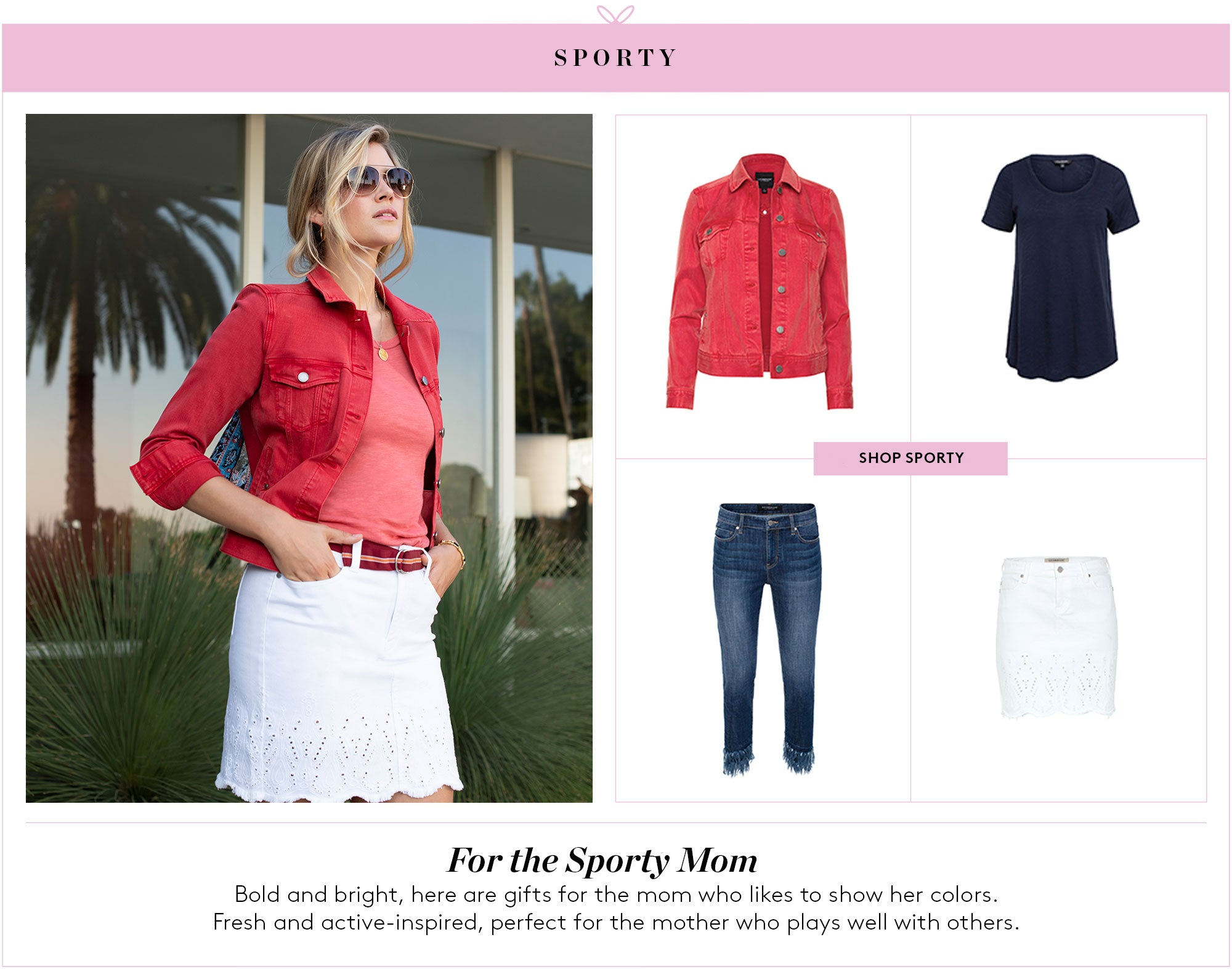For the Sporty Mom: Bold and bright, here are gifts for the mom who likes to show her colors.  Fresh and active-inspired, perfect for the mother who plays well with others.