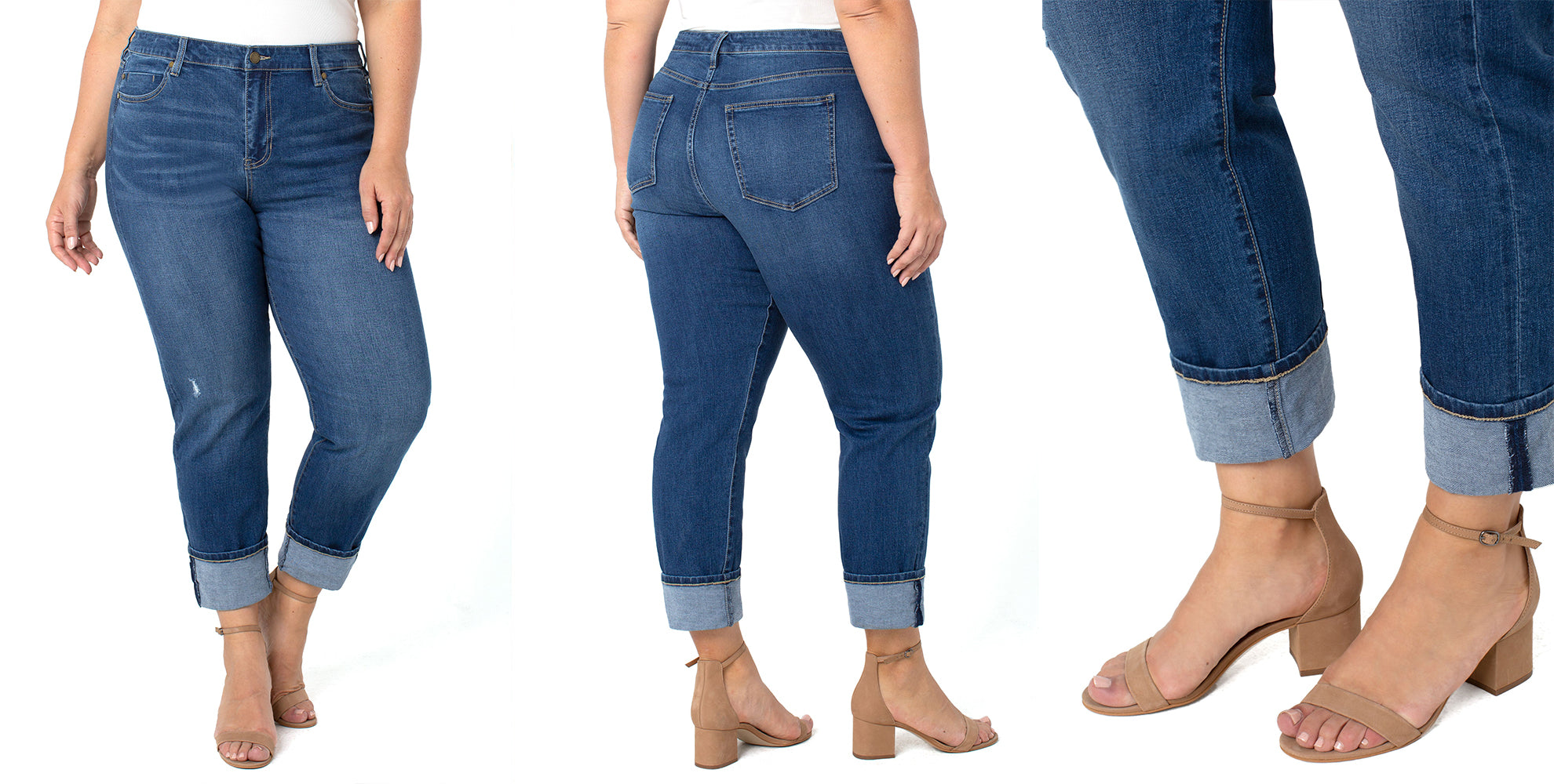 PLUS SIZE ECO MARLEY GIRLFRIEND JEAN IN A MEDIUM WASH WITH MILD DESTRUCTION ON RIGHT THIGH. Cuffed at the hem and can be un cuffed for a longer inseam.