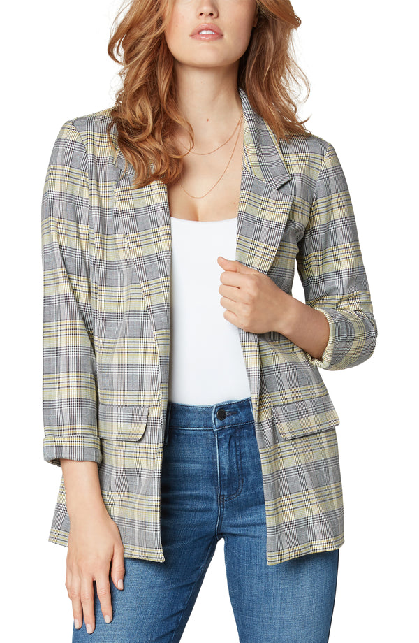 YELLOW BLACK WHITE GLEN PLAID