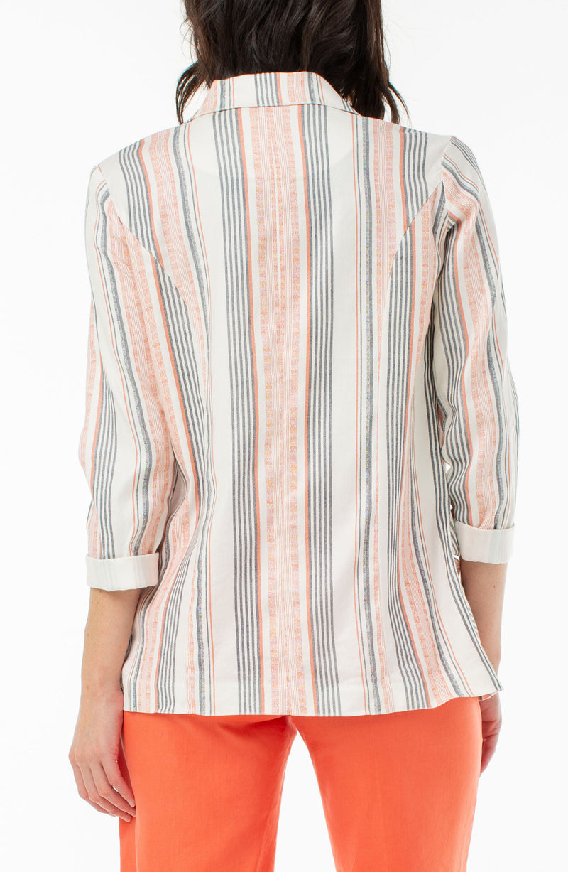 HOT CORAL MINI STRIPE