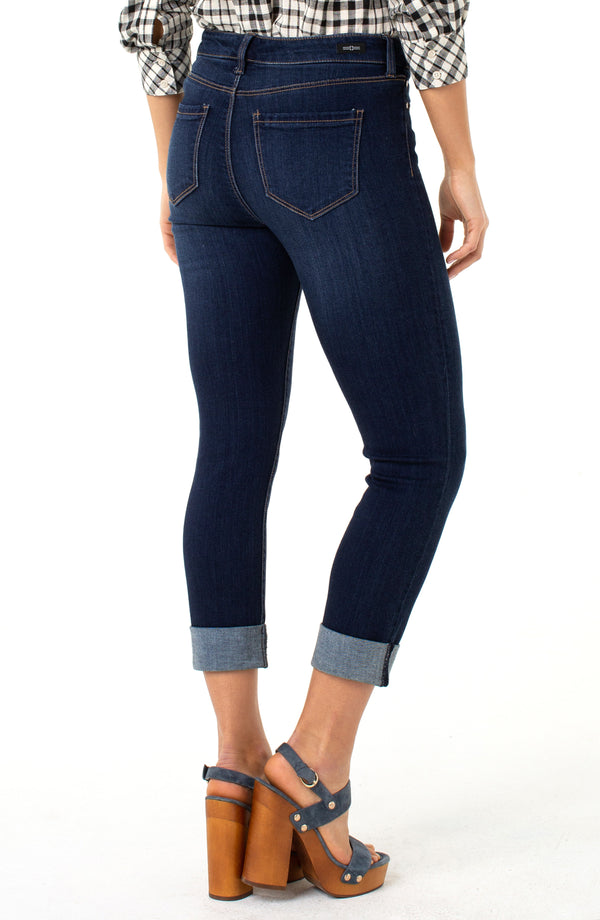 PETITE CHARLIE CROP WIDE ROLLED CUFF HIGH PERFORMANCE DENIM
