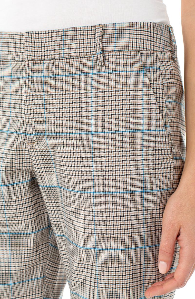 WHITE TAN BLUE BLACK HOUNDSTOOTH