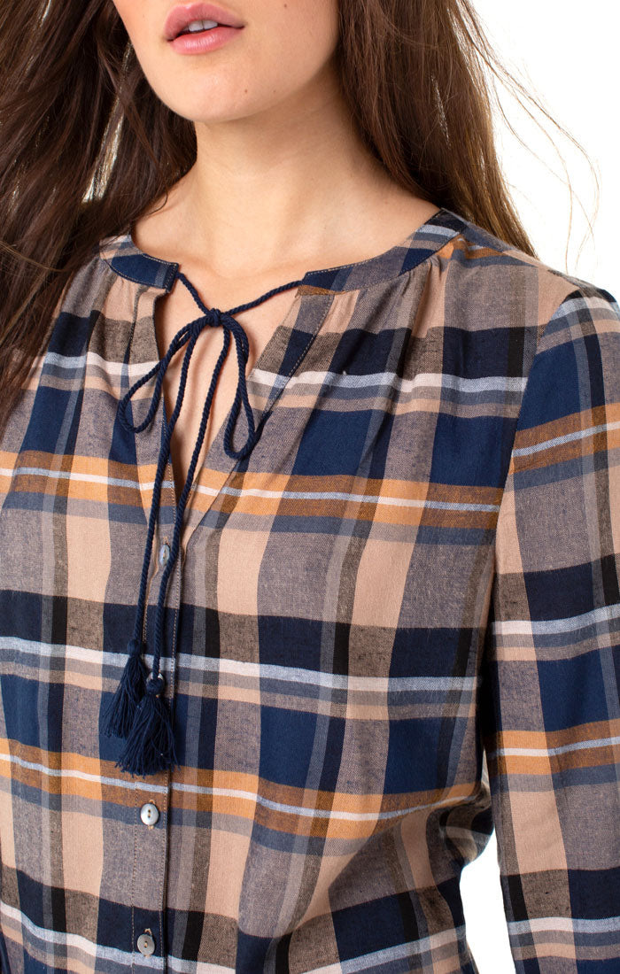 BLUE ORANGE WHITE PLAID