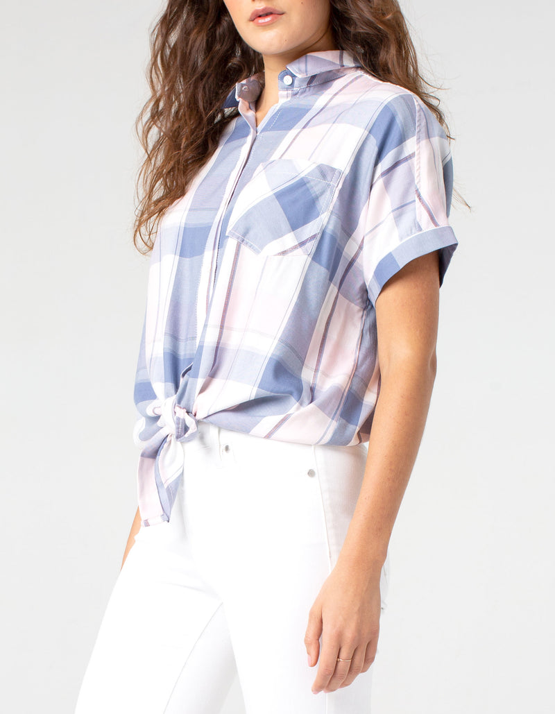PINK WHITE BLUE PLAID