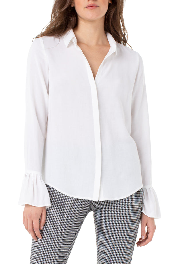 PLEATED CUFF HIDDEN PLACKET SHIRT
