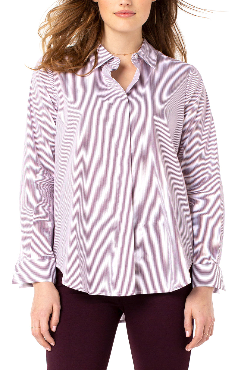 HIDDEN PLACKET MINI STRIPE SHIRT