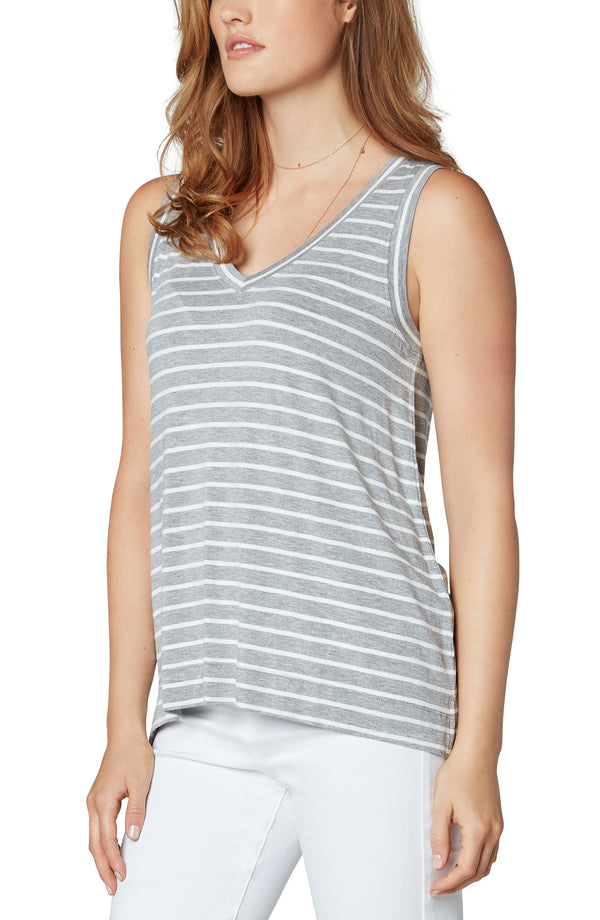 LIGHT HEATHER GREY WHITE STRIPE