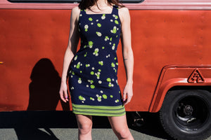 Navy and green little flowers shift dress